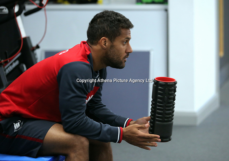 Wayne Routledge exercises in the gym during the Swansea City Training at The Fairwood Training Ground, Swansea, Wales, UK. Wednesday 22 November 2017