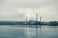 Maufacturing plant along the coast of Maine, USA