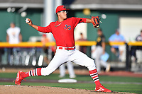 Johnson City Cardinals starting pitcher Francisco Justo (4) delivers a pitch during game two of the Appalachian League, West Division Playoffs against the Bristol Pirates at TVA Credit Union Ballpark on August 31, 2019 in Johnson City, Tennessee. The Cardinals defeated the Pirates 7-4 to even the series at 1-1. (Tony Farlow/Four Seam Images)