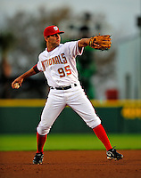 18 March 2009: Washington Nationals' shortstop Daniel Espinosa in action during a Spring Training game against the Florida Marlins at Space Coast Stadium in Viera, Florida. The Marlins defeated the Nationals 7-5 in the Grapefruit League matchup. Mandatory Photo Credit: Ed Wolfstein Photo