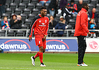 Daniel Sturridge of Liverpool warms up during the Barclays Premier League match between Swansea City and Liverpool played at the Liberty Stadium, Swansea on 1st May 2016