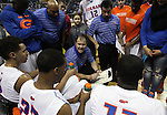 Bishop Gorman Head Coach Grant Rice talks to his team during the Division I championship game against Canyon Springs in the NIAA basketball state tournament at Lawlor Events Center, in Reno, Nev., on Friday, Feb. 28, 2014. Bishop Gorman won the title 71-58. (Cathleen Allison/Las Vegas Review-Journal)