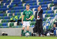 7th September 2020; Windsor Park, Belfast, County Antrim, Northern Ireland; EUFA Nations League, Group B, Northern Ireland versus Norway; Shane Ferguson of Northern Ireland looks for assistance from his team mates whilst Northern Ireland coach Ian Baraclough looks on