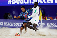 28th August 2021; Luzhniki Stadium, Moscow, Russia: FIFA World Cup Beach Football tournament; Semi final match Japan versus Senegal: Japan's Masanori Okuyama competes with Raoul Mendy of Senegal, during the match between Japan and Senegal