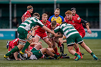 Auguy Slowik of Jersey Reds (centre) during the Championship Cup QF match between Ealing Trailfinders and Jersey Reds at Castle Bar, West Ealing, England  on 22 February 2020. Photo by David Horn.