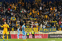 HARRISON, NJ - MARCH 11: Tigres UANL fans celebrate during a game between Tigres UANL and NYCFC at Red Bull Arena on March 11, 2020 in Harrison, New Jersey.