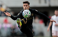 LOS ANGELES, CA - MARCH 01: Brian Rodriguez #17 of LAFC traps a ball during a game between Inter Miami CF and Los Angeles FC at Banc of California Stadium on March 01, 2020 in Los Angeles, California.