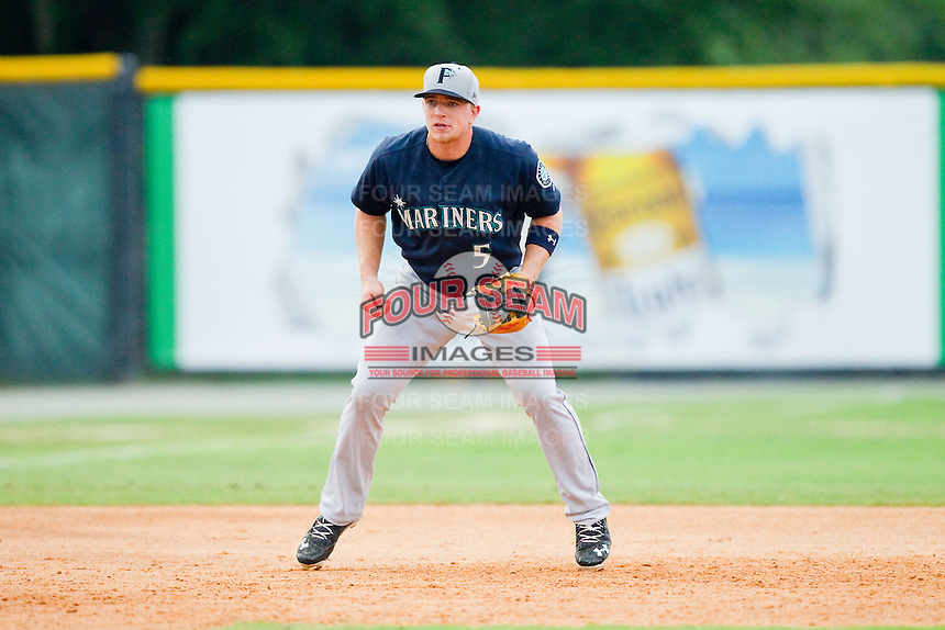 Pulaski Mariners third baseman Joseph DeCarlo (5) on defense against the Burlington Royals at Burlington Athletic Park on July 20, 2013 in Burlington, North Carolina.  The Royals defeated the Mariners 6-5.  (Brian Westerholt/Four Seam Images)