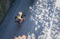yellow jersey/ GC leader Richie Porte (AUS/BMC) <br /> <br /> 69th Critérium du Dauphiné 2017<br /> Stage 8: Albertville > Plateau de Solaison (115km)