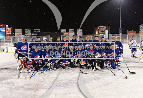 The Frozen Frontier Rochester Amerks Alumni team photo after the game at Frontier Field on December 15, 2013 in Rochester, New York.  Amerks team members include Kenton Rein, Tom Askey, Daryl Drader, Mike Hurlbut, Ray Maluta, Steve Ludzik, Jody Gage, Steve Langdon, Scott Metcalfe, Geoff Peters, Scott McCroy, Randy Cunneyworth, Paul Brydges, Jim Wiemer, Scott Nichol, Kevin Bolibruck, Chris Palmer, Dan Frawley, Brian McKinnon, David Cullen, Jim Hofford, Geordie Robertson, Gates Orlando, Jim Pettie.  (Copyright Mike Janes Photography)