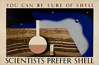 BNPS.co.uk (01202 558833)<br /> Pic: Lyon&Turnbull/BNPS<br /> <br /> Pictured: 'Scientists Prefer Shell' was part of the 'You Can be Sure of Shell' campaign<br /> <br /> A vast collection of vintage Shell posters have sold at auction for almost £60,000.<br /> <br /> The group of 49 sheets were sold directly from the oil giant's archives and featured some incredibly rare designs from down the years.<br /> <br /> All of the posters had previously been used in Shell advertising campaigns, dating back to between the 1920s and 1950s.<br /> <br /> Many of the colourful designed featured the slogan 'You can be sure of Shell' and list people who preferred their fuel.