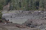Elwha River Restoration,  Elwha Dam removal, river returning to original channel, March 16, 2012, Drawn down Lake Aldwell, Largest ram removal project in US history, Olympic National Park, Olympic Peninsula, Washington State, Pacific Northwest, USA, North America,