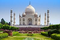 Iconic Taj Mahal marble mausoleum viewed from the Mehtab Bagh Mugal-era gardens, on the bank of the Yamuna river in Agra, Uttar Pradesh, India