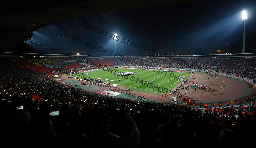 Delije Sever total stadion Crvena Zvezda during UEFA Europa League football match between Crvena Zvezda and Arsenal in Belgrade, Serbia on October 19. 2017. Arsenal won 1:0 (credit image & photo: Pedja Milosavljevic / STARSPORT)