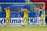 St Johnstone v Falkirk…24.07.18…  McDiarmid Park    Betfred Cup<br />Falkirks Tom Owen-Evans, Pat Brough and Dylan Mackin react after missing a late chance to equalize<br />Picture by Graeme Hart. <br />Copyright Perthshire Picture Agency<br />Tel: 01738 623350  Mobile: 07990 594431
