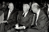1988 FILE PHOTO - ARCHIVES -<br /> <br /> Officers confer: Norman Keevil Jr., right, confers with the Right Hon. Roland Michener, honorary chairman of the company, at the annual meeting yesterday in Toronto.<br /> <br /> 1988<br /> <br /> PHOTO :  Erin Comb - Toronto Star Archives - AQP