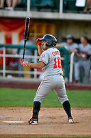 Alberti Chavez (16) of the Billings Mustangs at bat against the Orem Owlz in Pioneer League action at Home of the Owlz on July 25, 2016 in Orem, Utah. Orem defeated Billings 6-5. (Stephen Smith/Four Seam Images)