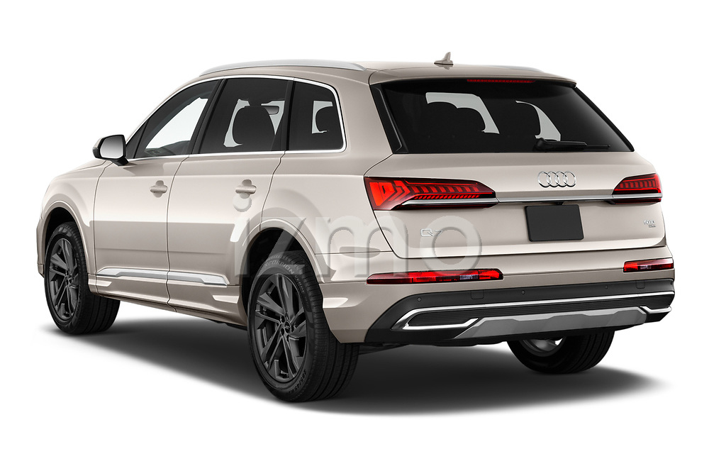 Car pictures of rear three quarter view of 2020 Audi Q7 Advanced 5 Door SUV Angular Rear
