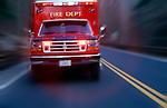 ambulance on road speeding to emergency
