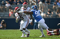 Ole Miss defensive lineman Tavius Robinson (95) grabs the facemark of Arkansas running back Raheim Sanders (5), Saturday, October 9, 2021 during the second quarter of a football game at Vaught Hemingway Stadium in Oxford, Miss. Check out nwaonline.com/211010Daily/ for today's photo gallery. <br /> (NWA Democrat-Gazette/Charlie Kaijo)
