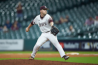 Mississippi State Bulldogs relief pitcher Blake Smith (42) in action against the Houston Cougars in game six of the 2018 Shriners Hospitals for Children College Classic at Minute Maid Park on March 3, 2018 in Houston, Texas. The Bulldogs defeated the Cougars 3-2 in 12 innings. (Brian Westerholt/Four Seam Images)