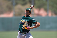 Oakland Athletics relief pitcher Jaimito Lebron (38) delivers a pitch during an Extended Spring Training game against the San Francisco Giants Orange at the Lew Wolff Training Complex on May 29, 2018 in Mesa, Arizona. (Zachary Lucy/Four Seam Images)