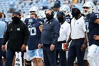 CHAPEL HILL, NC - OCTOBER 10: Head coach Mack Brown of North Carolina during a game between Virginia Tech and North Carolina at Kenan Memorial Stadium on October 10, 2020 in Chapel Hill, North Carolina.
