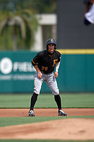 Pittsburgh Pirates Sammy Siani (28) leads off during a Florida Instructional League game against the Detroit Tigers on October 16, 2020 at Joker Marchant Stadium in Lakeland, Florida.  (Mike Janes/Four Seam Images)