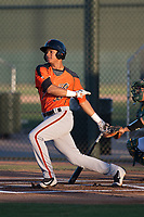 AZL Giants Orange right fielder George Bell (38) follows through on his swing during an Arizona League game against the AZL Athletics at Lew Wolff Training Complex on June 25, 2018 in Mesa, Arizona. AZL Giants Orange defeated the AZL Athletics 7-5. (Zachary Lucy/Four Seam Images)