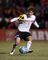 Mikey Ambrose (5) of Maryland passes the ball during the second round of the NCAA tournament at Ludwig Field in College Park, MD.  Maryland defeated Providence, 3-1.