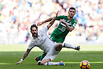 Isco of Real Madrid battles for the ball with Alberto Martin of Deportivo Leganes during their La Liga match between Real Madrid and Deportivo Leganes at the Estadio Santiago Bernabéu on 06 November 2016 in Madrid, Spain. Photo by Diego Gonzalez Souto / Power Sport Images