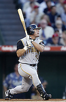 Brian Giles of the Pittsburgh Pirates bats during a 2002 MLB season game against the Los Angeles Angels at Angel Stadium, in Anaheim, California. (Larry Goren/Four Seam Images)