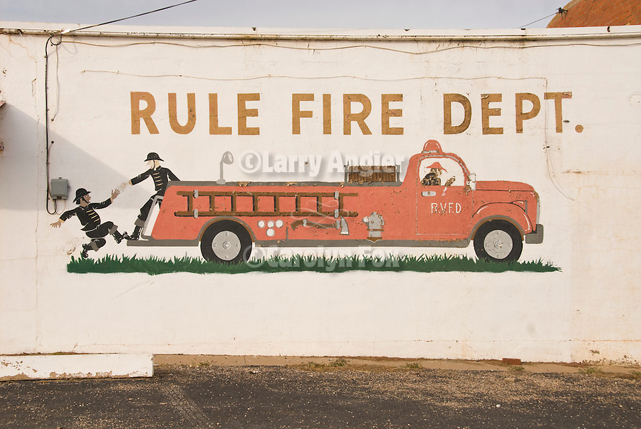 Fire department mural on wall for the Rule, Tex., Fire Dept.