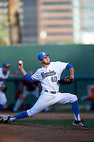 Ryan Deeter #40 of the UCLA Bruins pitches against the Oklahoma Sooners at Jackie Robinson Stadium on March 9, 2013 in Los Angeles, California. (Larry Goren/Four Seam Images)