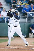 Everett AquaSox's Jarrett Burgess #40 at bat against the Boise Hawks at Everett Memorial Stadium in Everett, Washington on July 30, 2011.  (Ronnie Allen/Four Seam Images)