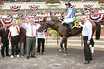 Teeth of the Dog with Joel Rosario fights off Fast Falcon to win the Grade II Dwyer Stakes for 3-year olds, going 1 1/16 at Belmont Park.  Trainer Micael Matz.  Owner JW Singer, Inc.