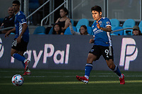 SAN JOSE, CA - JULY 24: Javier Eduardo Lopez #9 of the San Jose Earthquakes passes the ball during a game between San Jose Earthquakes and Houston Dynamo at PayPal Park on July 24, 2021 in San Jose, California.