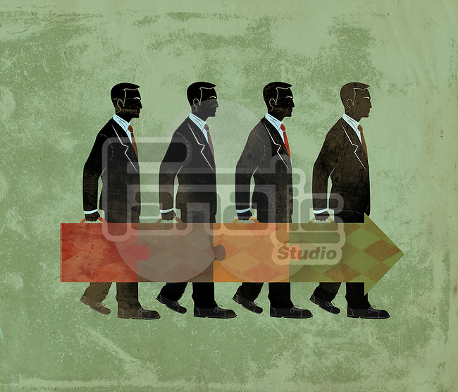 Illustrative concept of business people depicting corporate hierarchy