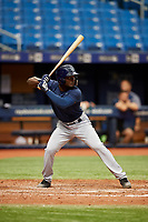 Tony Pena (20) at bat during the Tampa Bay Rays Instructional League Intrasquad World Series game on October 3, 2018 at the Tropicana Field in St. Petersburg, Florida.  (Mike Janes/Four Seam Images)