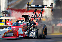 Feb 7, 2020; Pomona, CA, USA; NHRA top fuel driver Doug Kalitta during qualifying for the Winternationals at Auto Club Raceway at Pomona. Mandatory Credit: Mark J. Rebilas-USA TODAY Sports