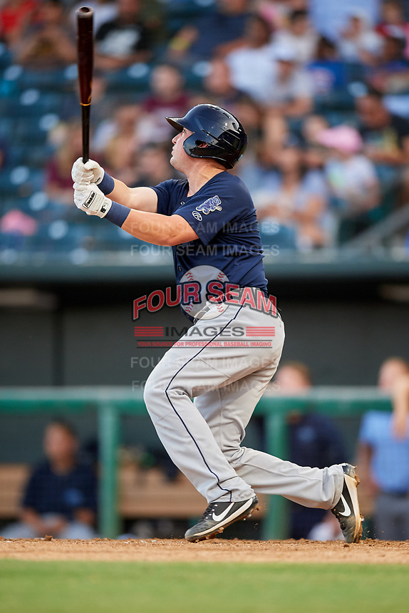 Mobile BayBears catcher Michael Barash (16) follows through on a swing during a game against the Jacksonville Jumbo Shrimp on April 14, 2018 at Baseball Grounds of Jacksonville in Jacksonville, Florida.  Mobile defeated Jacksonville 13-3.  (Mike Janes/Four Seam Images)