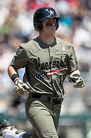 Vanderbilt Commodores outfielder Pat DeMarco (18) runs to first base during Game 3 of the NCAA College World Series against the Louisville Cardinals on June 16, 2019 at TD Ameritrade Park in Omaha, Nebraska. Vanderbilt defeated Louisville 3-1. (Andrew Woolley/Four Seam Images)