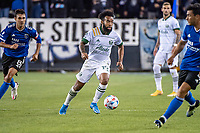 SAN JOSE, CA - MAY 15: Eryk Williamson #19 of the Portland Timbers dribbles the ball during a game between San Jose Earthquakes and Portland Timbers at PayPal Park on May 15, 2021 in San Jose, California.