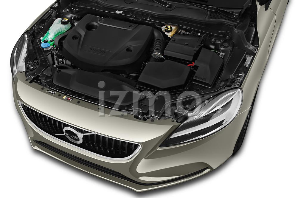 Car Stock 2017 Volvo V40 Momentum 5 Door Hatchback Engine  high angle detail view