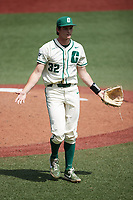 Charlotte 49ers starting pitcher Andrew Lindsey (32) reacts after getting the final out of an inning during the game against the Old Dominion Monarchs at Hayes Stadium on April 25, 2021 in Charlotte, North Carolina. (Brian Westerholt/Four Seam Images)