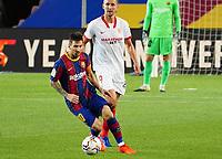 4th October 2020; Camp Nou, Barcelona, Catalonia, Spain; La Liga Football, Barcelona versus Sevilla; Leo Messi cuts inside as Barcelona build an attack