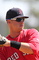 Boston Red Sox minor league player David Renfroe during a spring training game vs the Baltimore Orioles at the Buck O'Neil Complex in Sarasota, Florida;  March 22, 2011.  Photo By Mike Janes/Four Seam Images