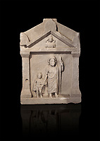 Roman relief funereal stele from Hierapolis Northern Necropolis. Hierapolis Archaeology Museum, Turkey . Against an black background