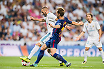 Karim Benzema (l) of Real Madrid is tackled by Ivan Rakitic of FC Barcelona during their Supercopa de Espana Final 2nd Leg match between Real Madrid and FC Barcelona at the Estadio Santiago Bernabeu on 16 August 2017 in Madrid, Spain. Photo by Diego Gonzalez Souto / Power Sport Images