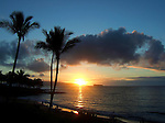 Hawaiian sunset with Molokini Crater in the distance.